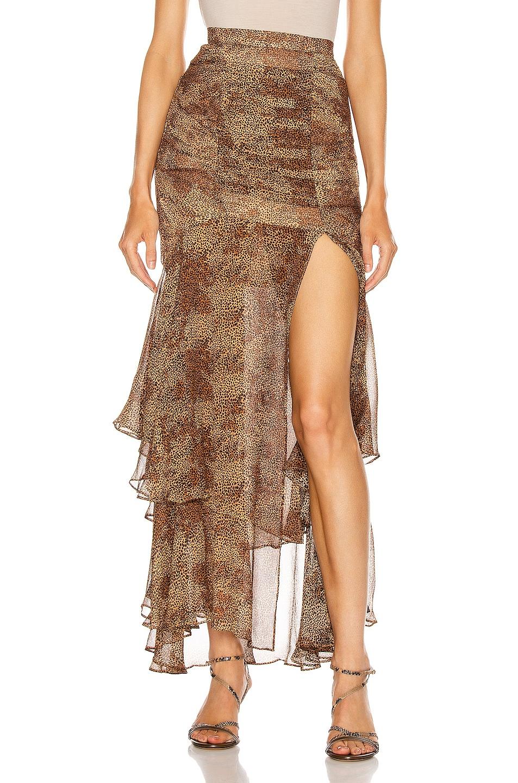 Image 1 of NICHOLAS Tuck Front Skirt in Tan Multi