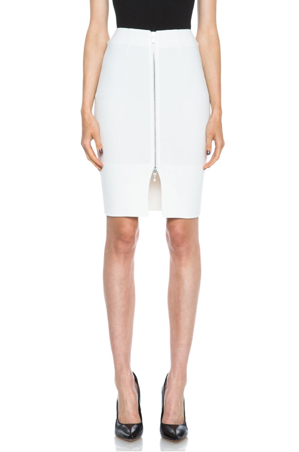 Image 1 of NICHOLAS Zip Pencil Poly-Blend Skirt in White
