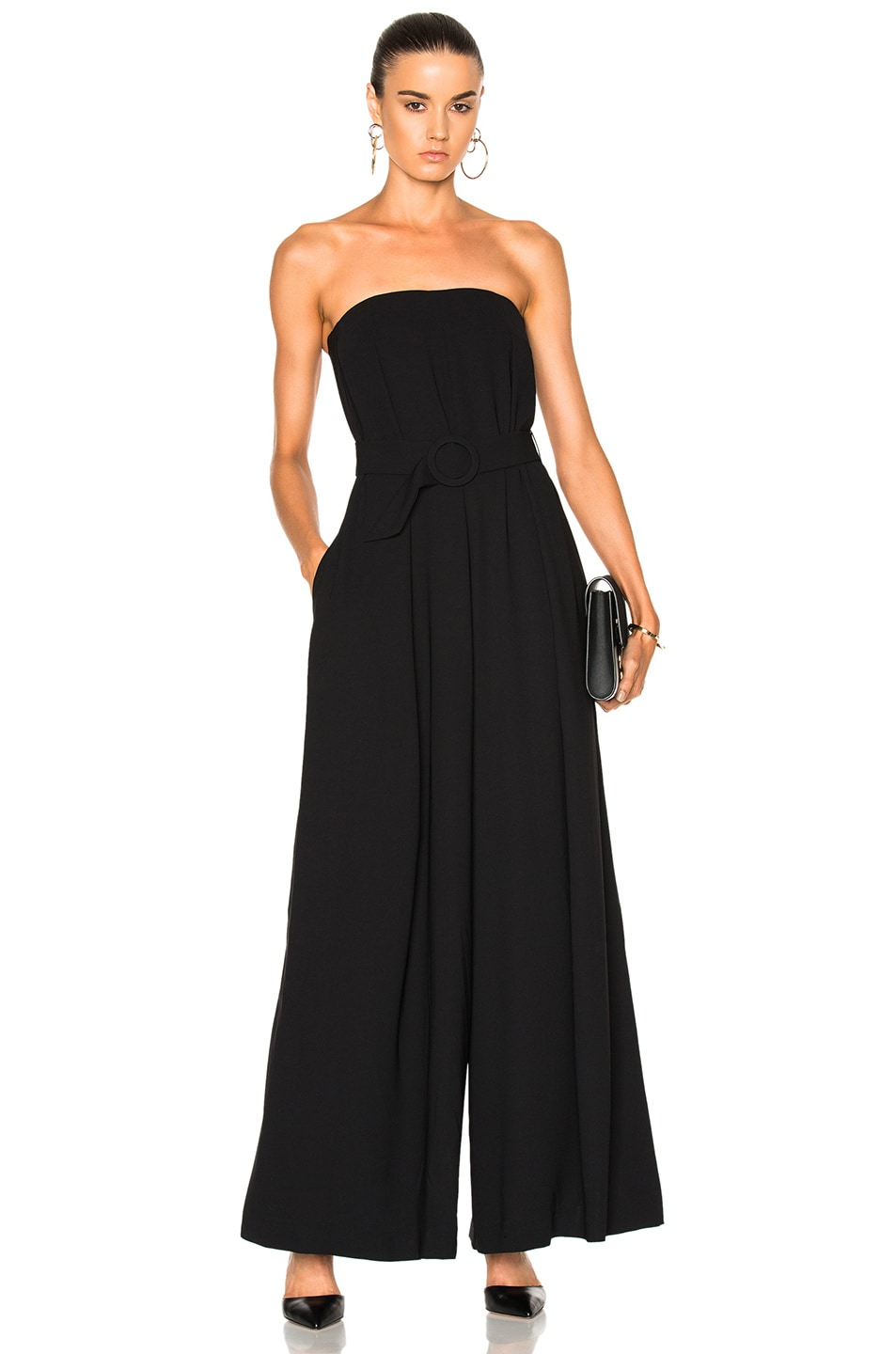 41eb33bbeced Image 1 of NICHOLAS Crepe Strapless Jumpsuit in Black