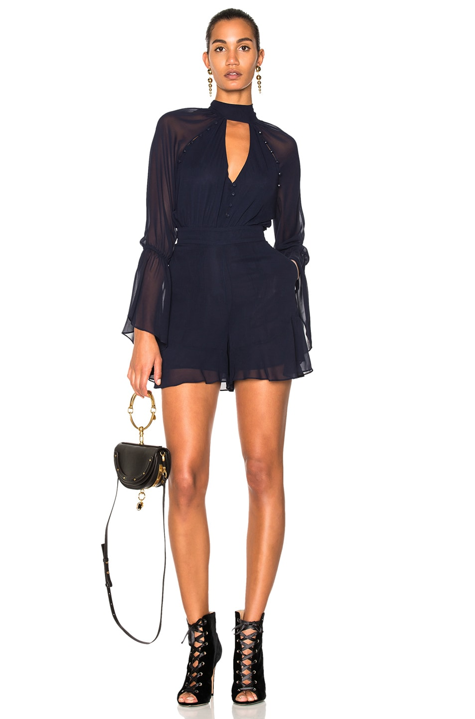 Image 1 of NICHOLAS Mock Neck Romper in Navy