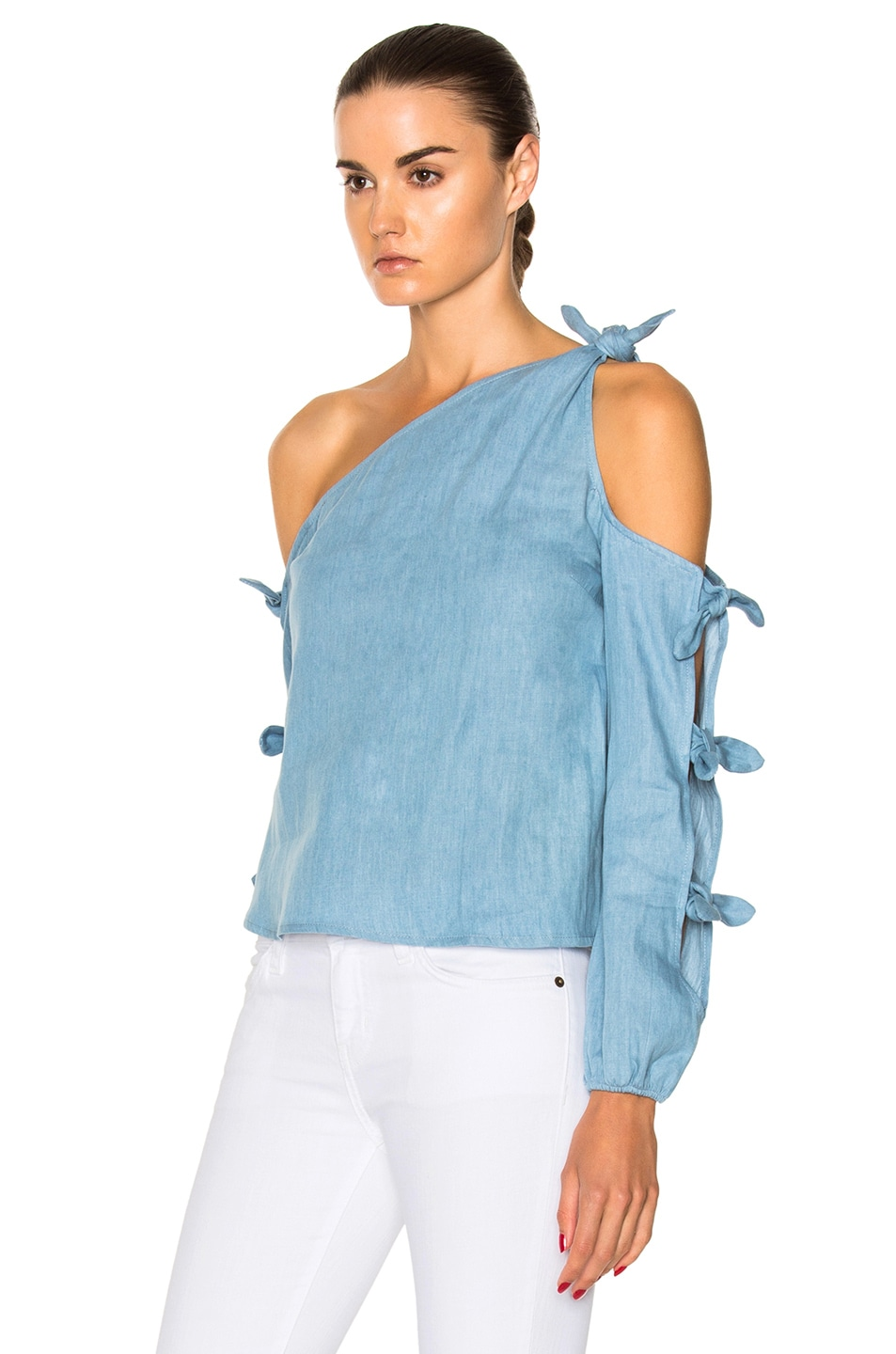 Image 2 of NICHOLAS Chambray Knot One Shoulder Top in Light Blue