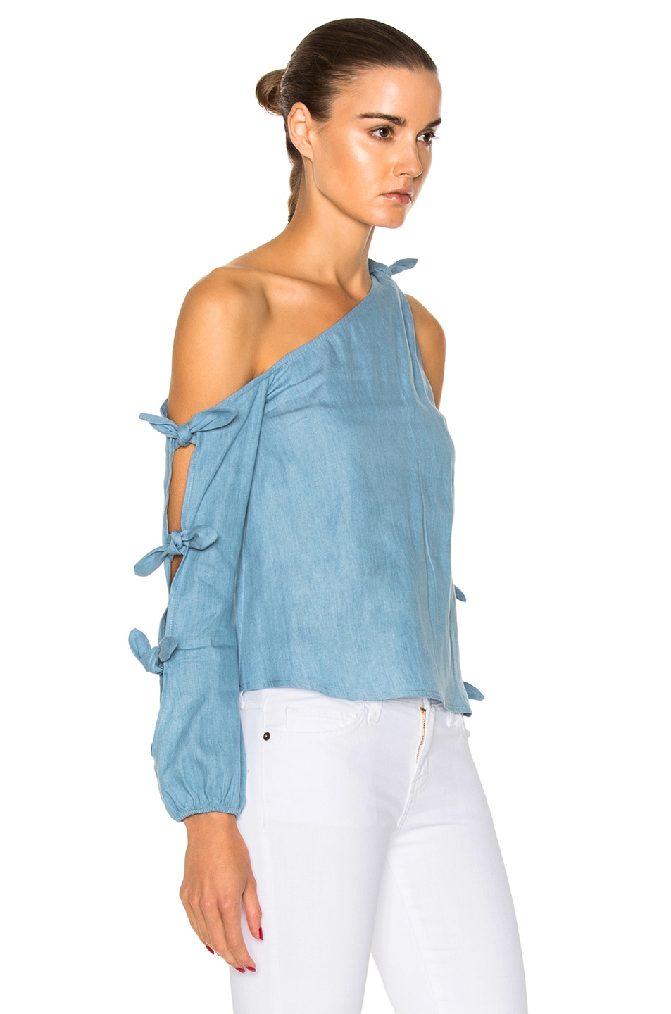 Image 3 of NICHOLAS Chambray Knot One Shoulder Top in Light Blue