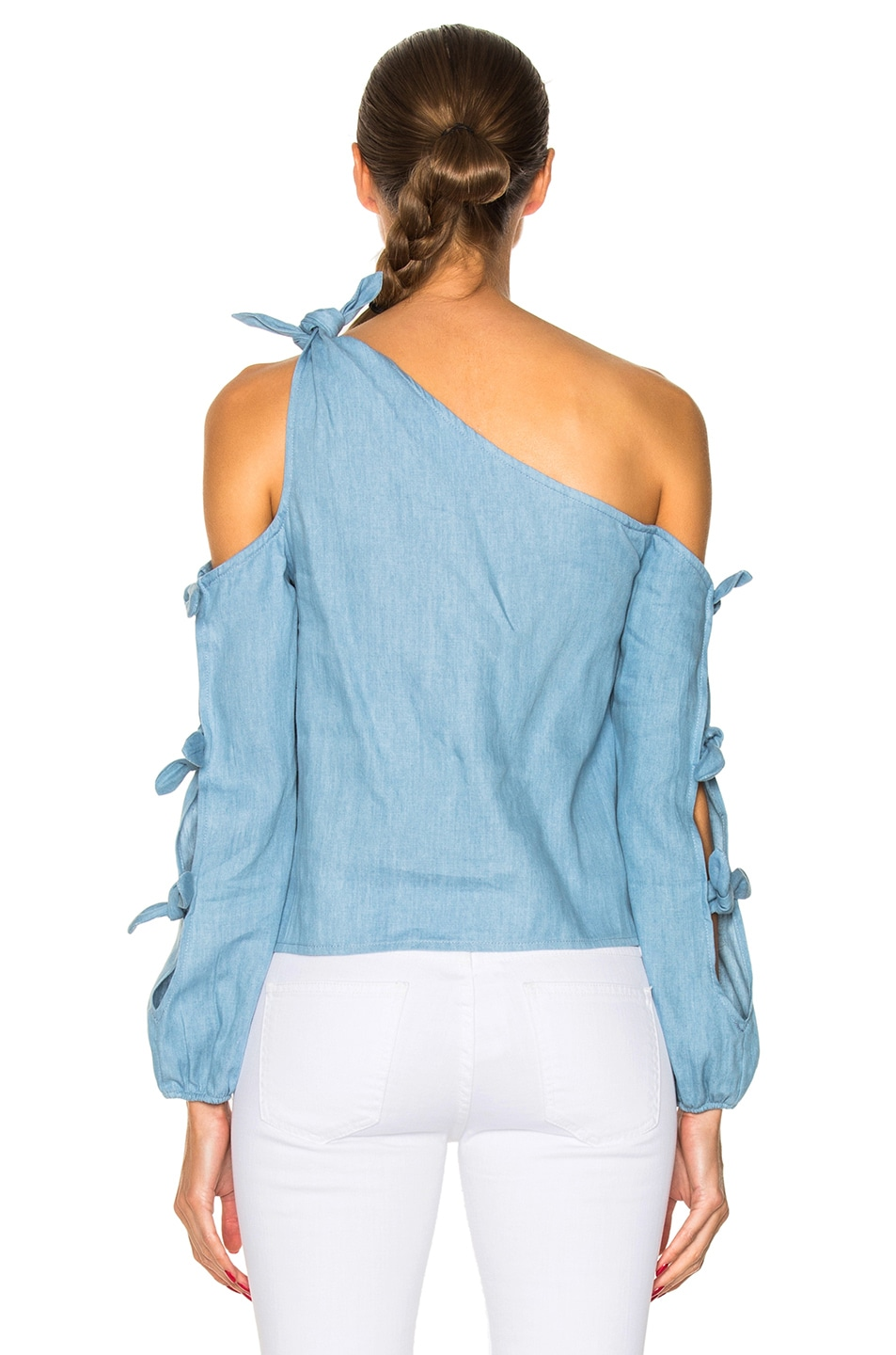 Image 4 of NICHOLAS Chambray Knot One Shoulder Top in Light Blue