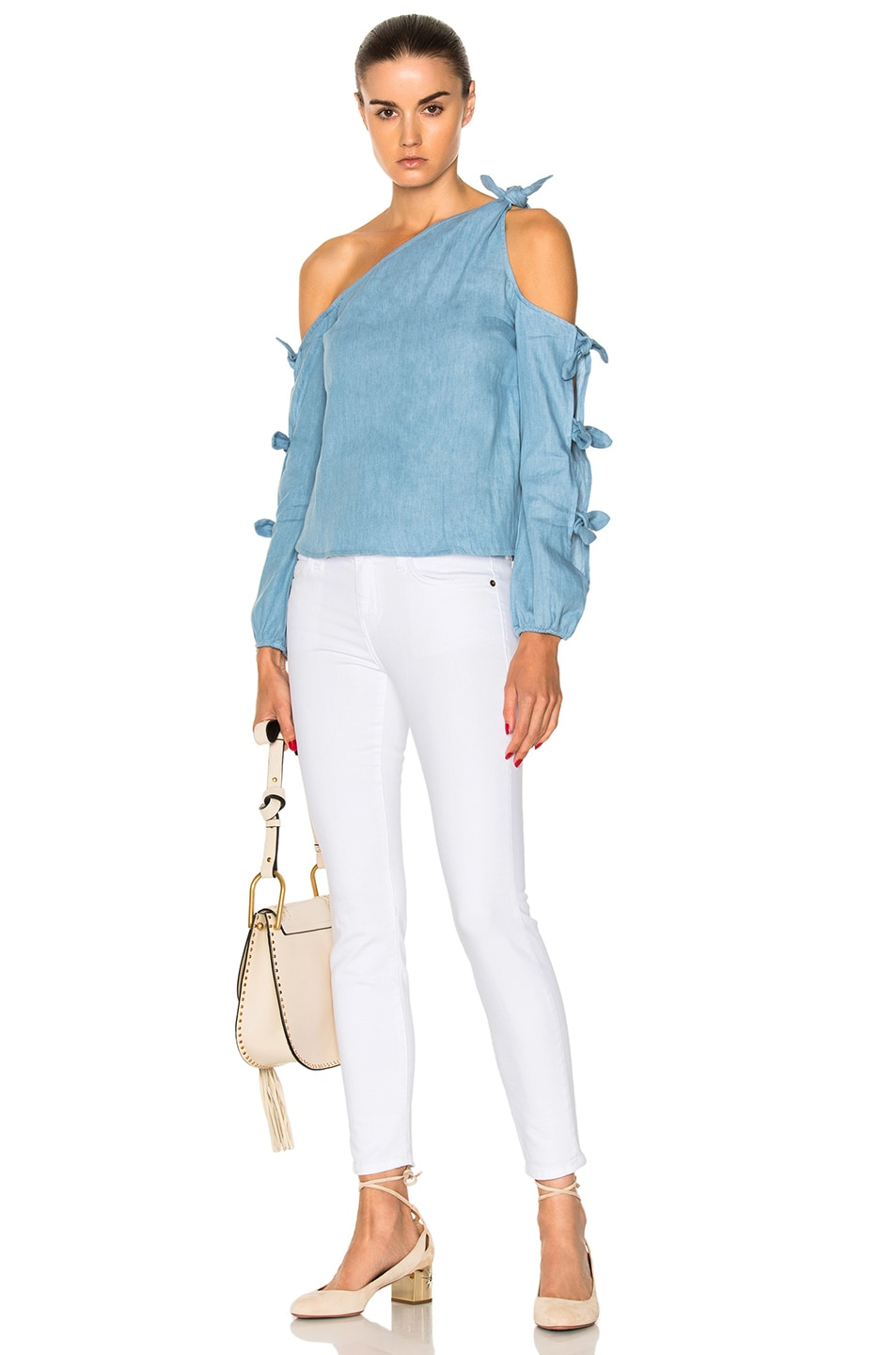 Image 5 of NICHOLAS Chambray Knot One Shoulder Top in Light Blue