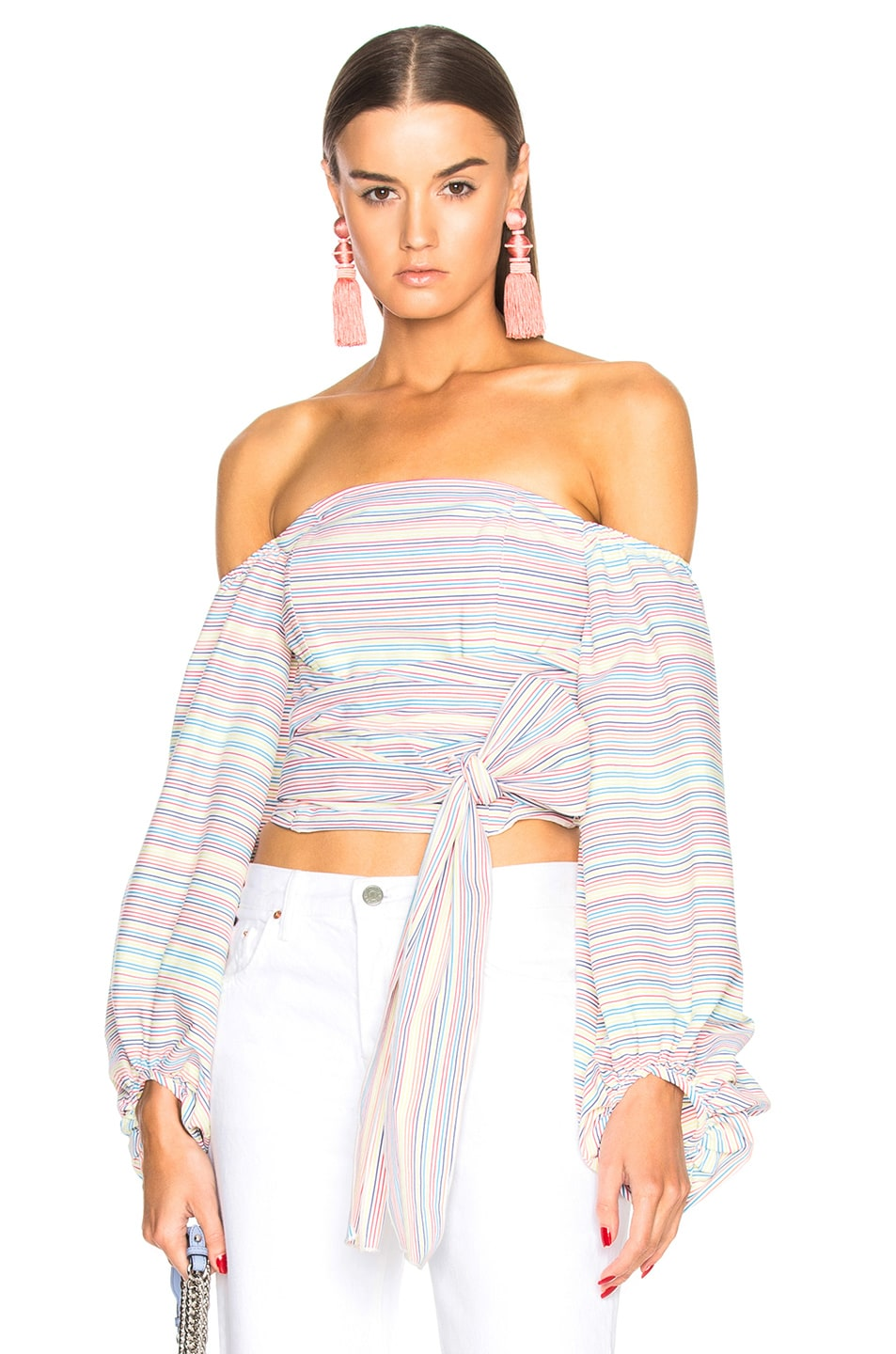 NICHOLAS Rainbow Off Shoulder Wrap Top in White,Stripes,Blue
