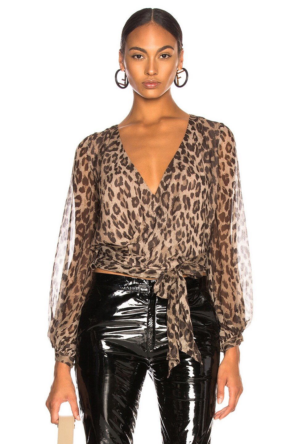 Image 1 of NICHOLAS Wrap Top in Leopard