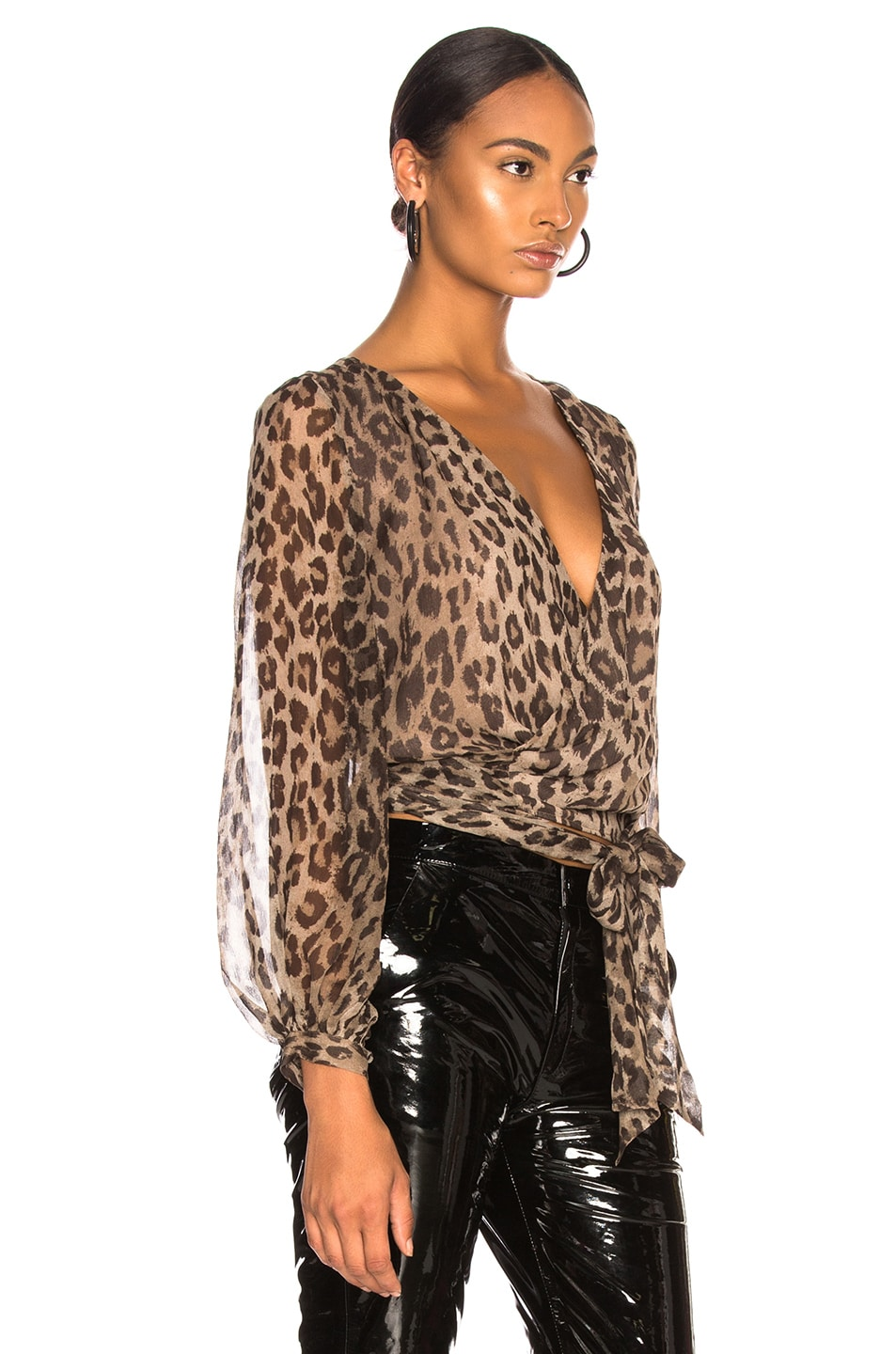 Image 2 of NICHOLAS Wrap Top in Leopard