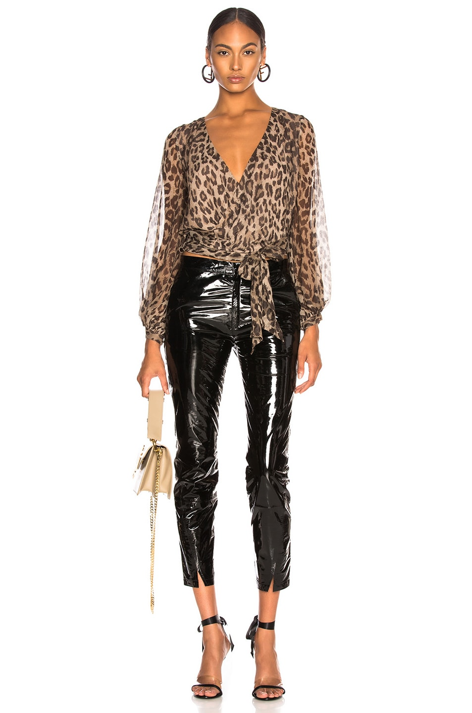 Image 4 of NICHOLAS Wrap Top in Leopard