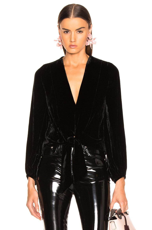 Image 1 of NICHOLAS Velvet Tie Front Top in Black