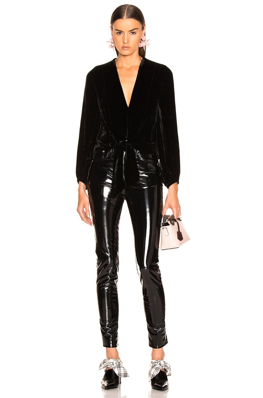 Image 4 of NICHOLAS Velvet Tie Front Top in Black