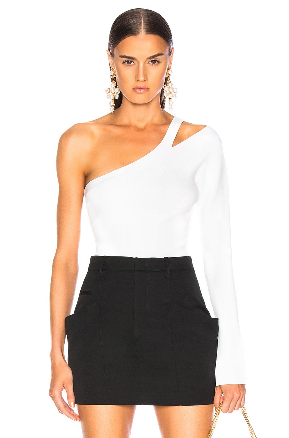 Image 1 of NICHOLAS Compact Asymmetrical Bodysuit in White