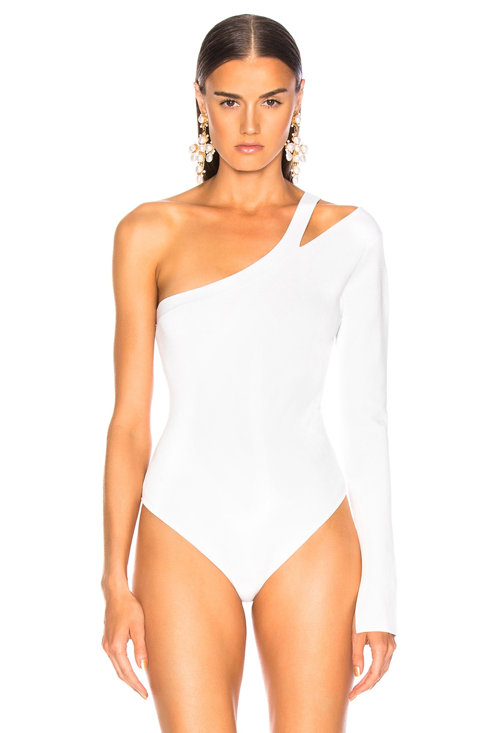Image 2 of NICHOLAS Compact Asymmetrical Bodysuit in White