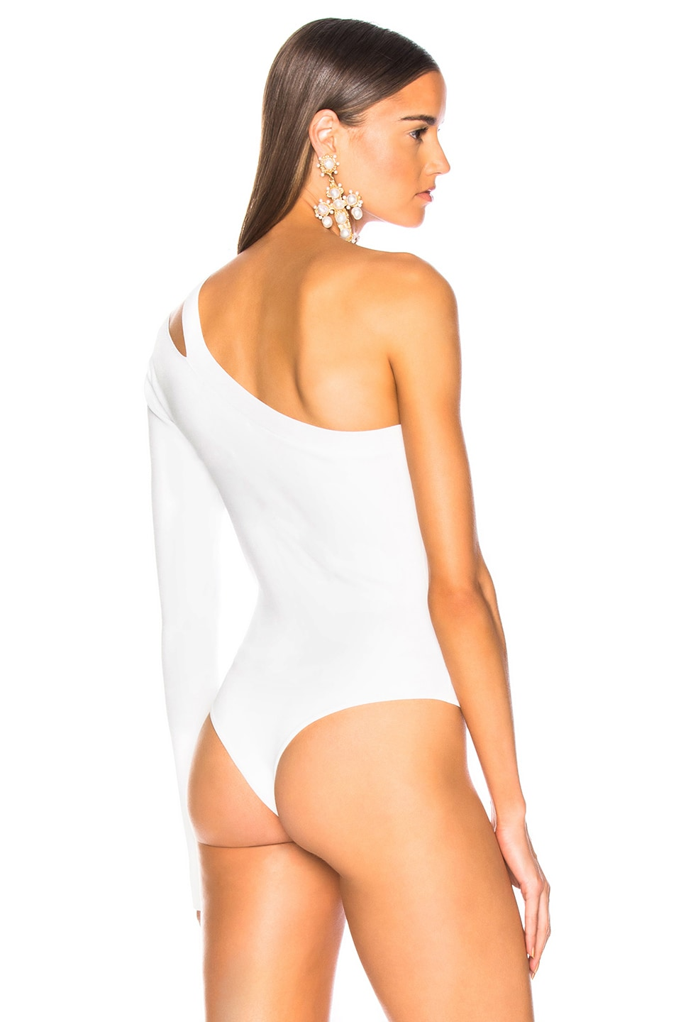 Image 4 of NICHOLAS Compact Asymmetrical Bodysuit in White
