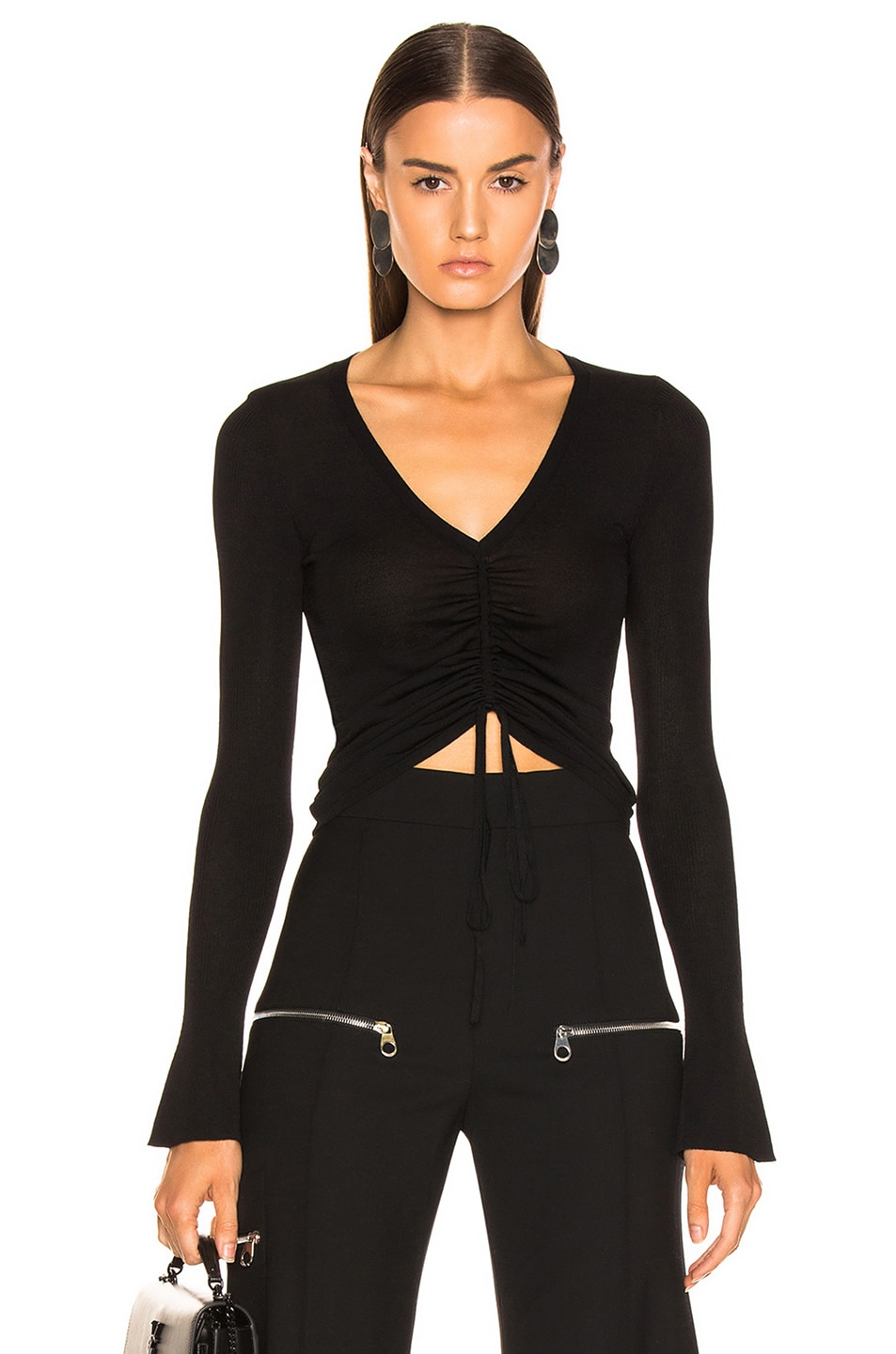 Image 1 of NICHOLAS Compact Ruched Front Tie Top in Black