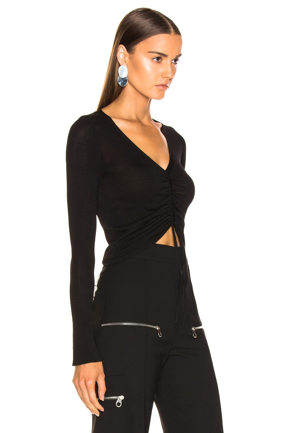 Image 2 of NICHOLAS Compact Ruched Front Tie Top in Black