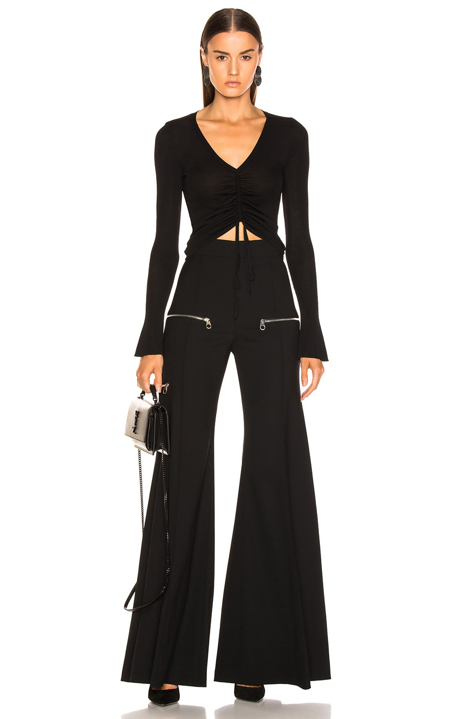 Image 4 of NICHOLAS Compact Ruched Front Tie Top in Black