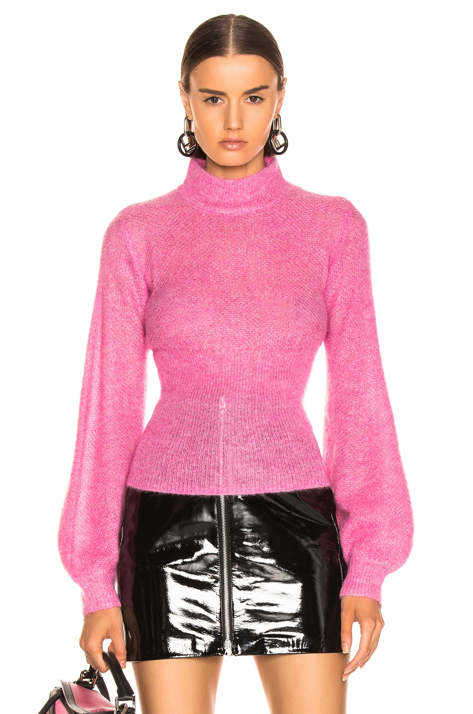 Image 1 of NICHOLAS Fine Mohair Blouson Top in Hot Pink