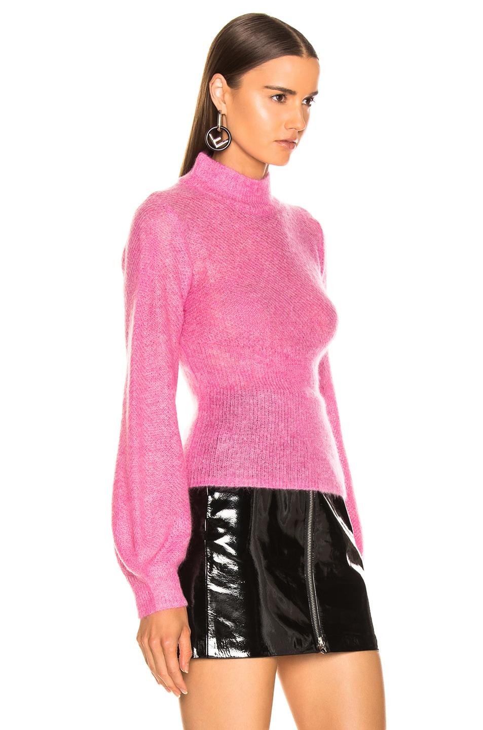 Image 2 of NICHOLAS Fine Mohair Blouson Top in Hot Pink