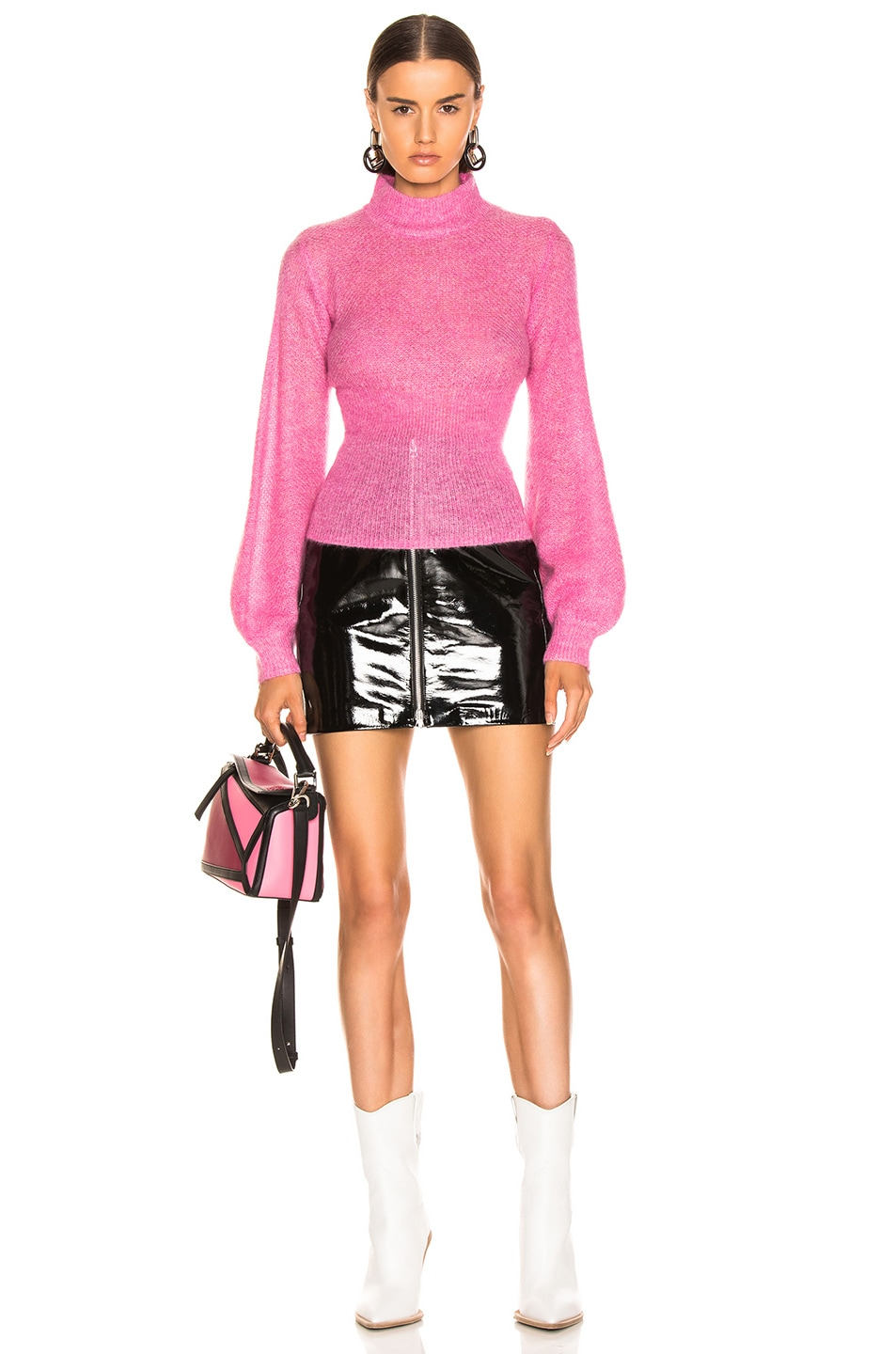Image 4 of NICHOLAS Fine Mohair Blouson Top in Hot Pink
