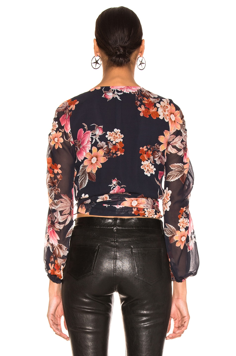 Image 3 of NICHOLAS Pintuck Wrap Top in Navy Rust Floral