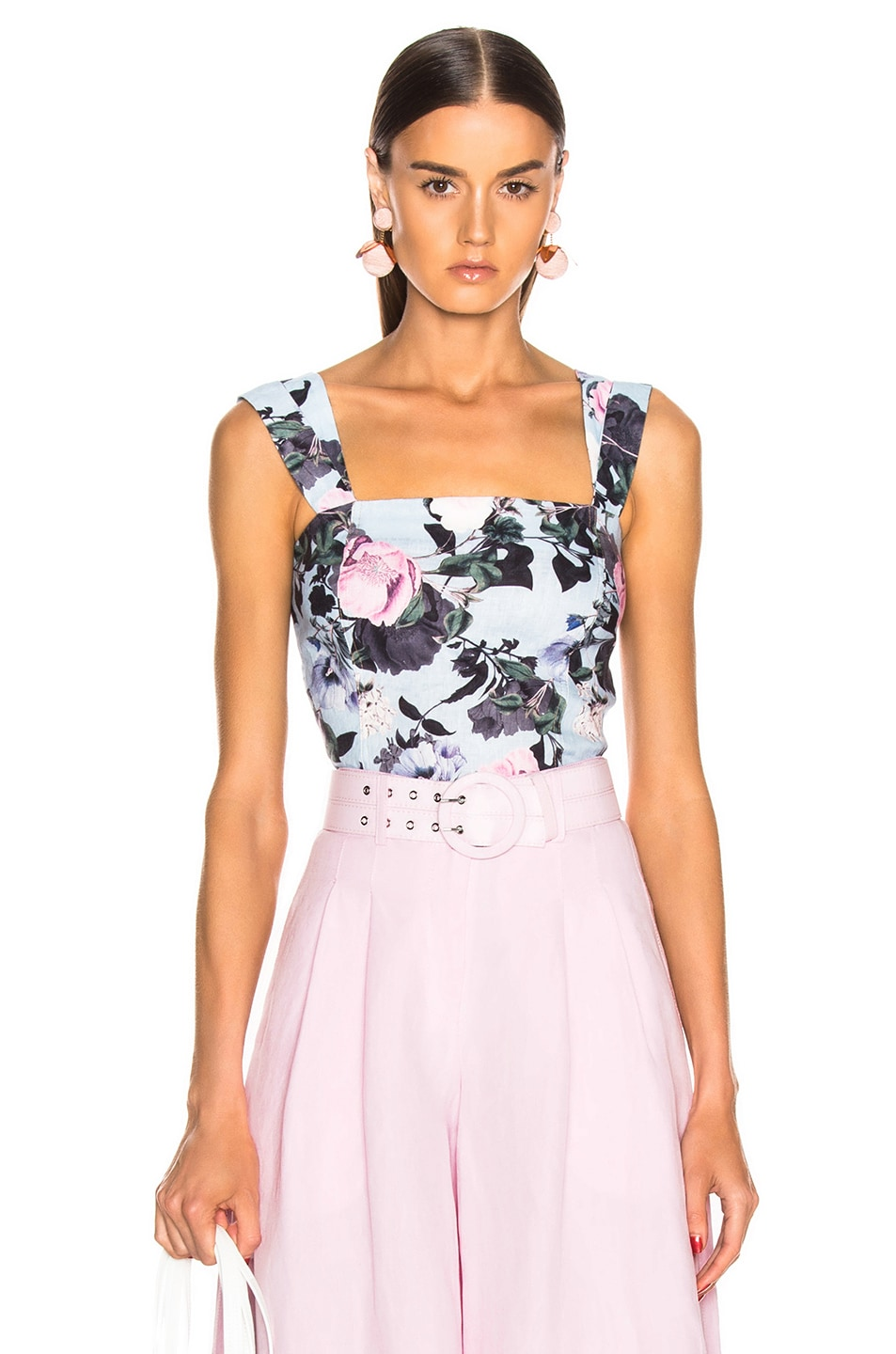 Image 1 of NICHOLAS Button Back Top in Sky Multi