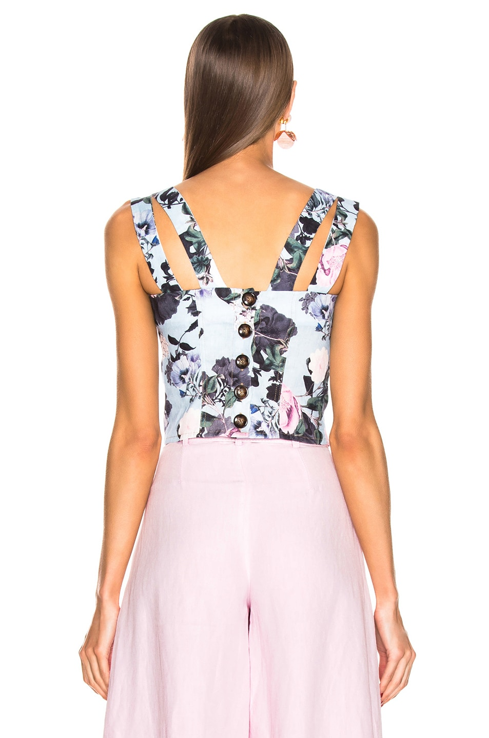 Image 3 of NICHOLAS Button Back Top in Sky Multi