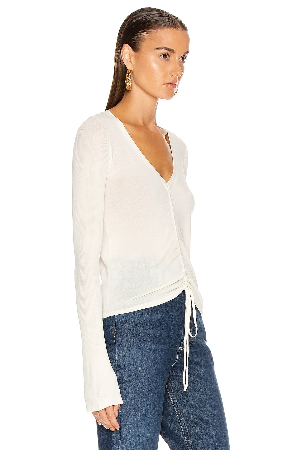 Image 2 of NICHOLAS Compact Ruched Front Tie Top in Off White