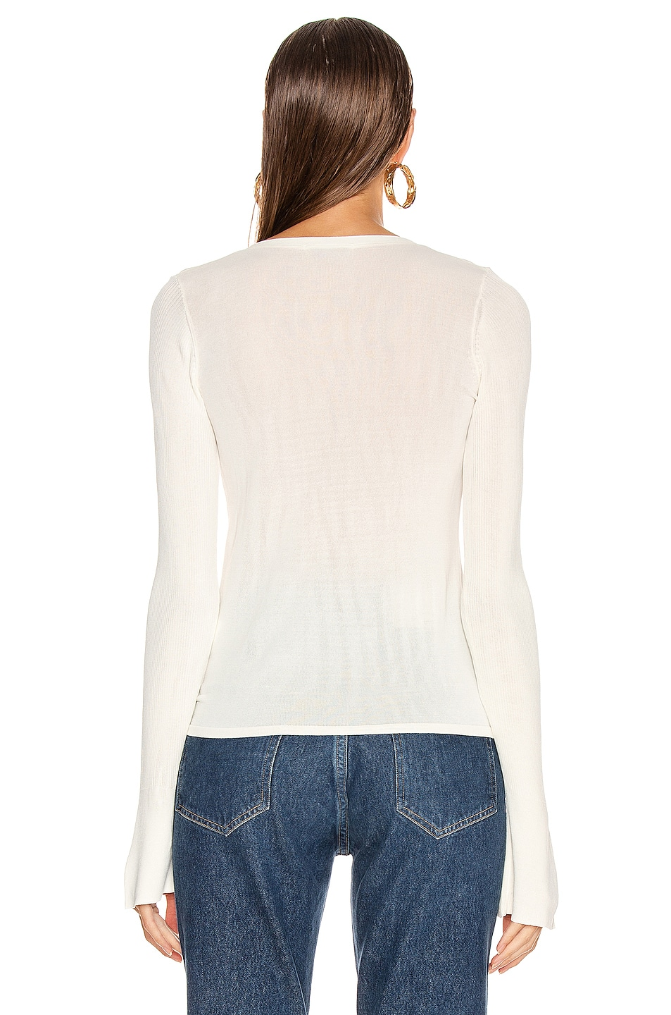 Image 3 of NICHOLAS Compact Ruched Front Tie Top in Off White