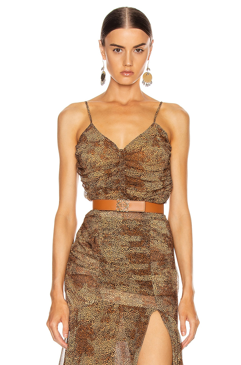Image 1 of NICHOLAS Ruched Cami Top in Tan Multi