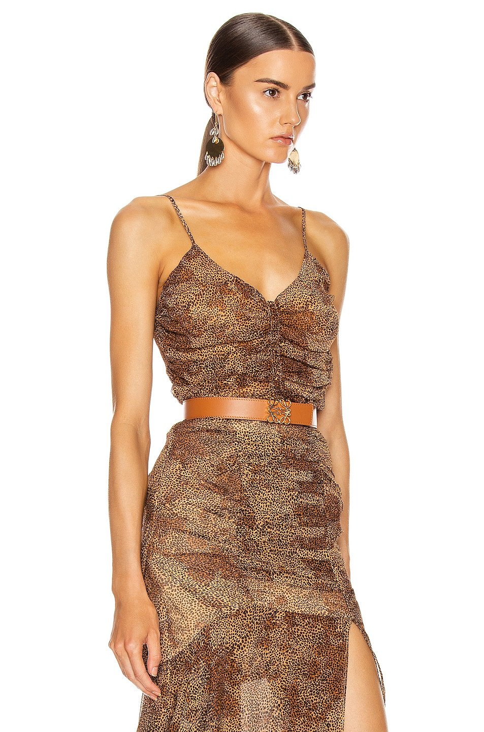 Image 2 of NICHOLAS Ruched Cami Top in Tan Multi