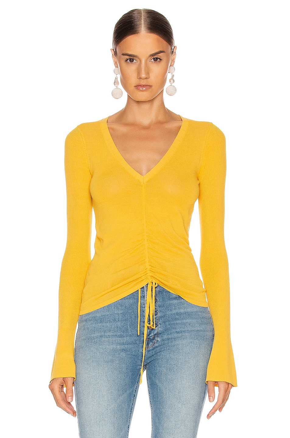 Image 1 of NICHOLAS Compact Ruched Front Tie Top in Melon