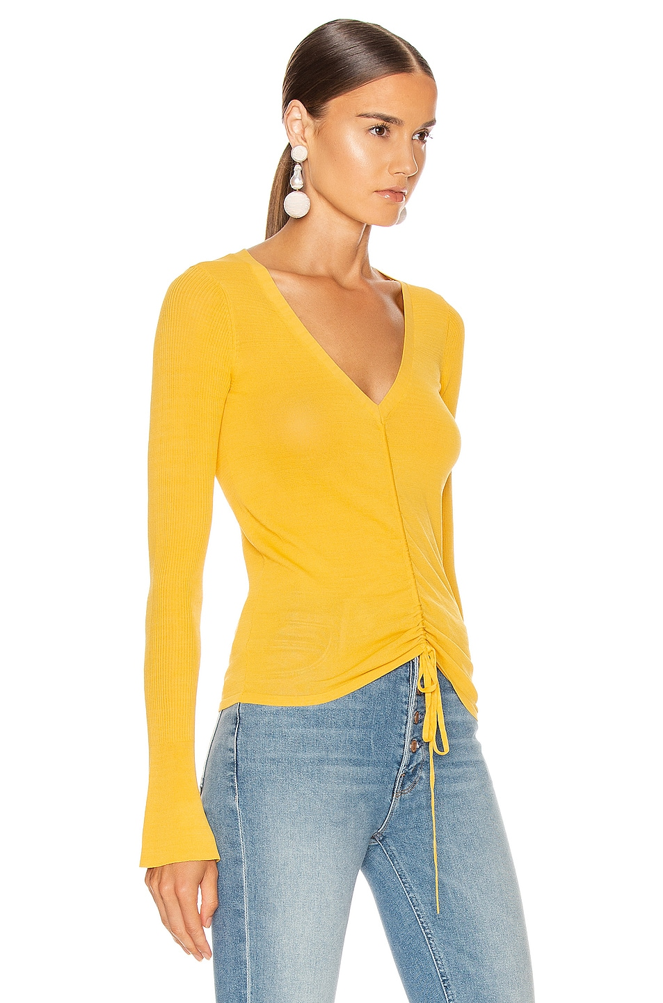 Image 2 of NICHOLAS Compact Ruched Front Tie Top in Melon