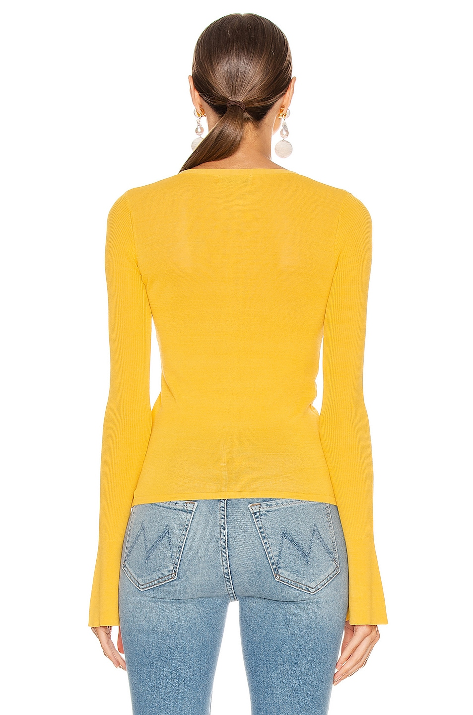 Image 3 of NICHOLAS Compact Ruched Front Tie Top in Melon
