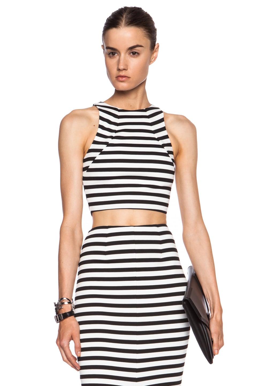 Image 1 of NICHOLAS Monaco Stripe Poly-Blend Crop Top in Black & White