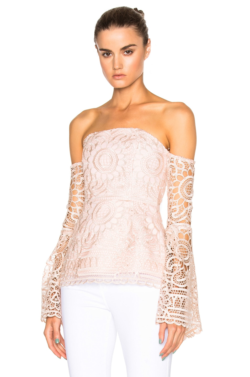 Image 1 of NICHOLAS Floral Lace Eva Top in Antique Pink