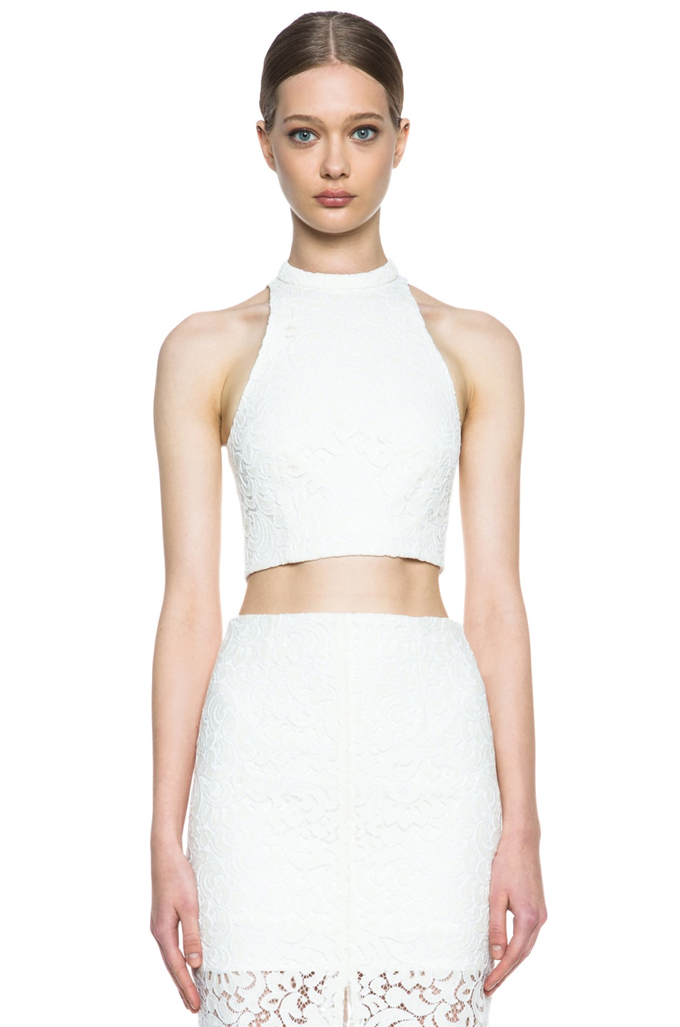 Image 1 of NICHOLAS Roll Neck Crochet Knit Crop Top in Ivory