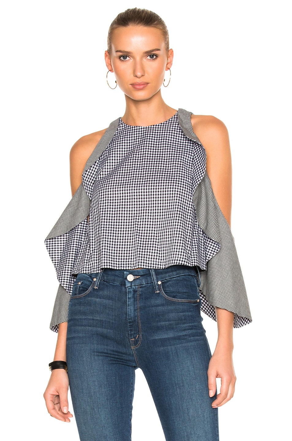 Image 1 of NICHOLAS Gingham Drape Sleeve Top in Black
