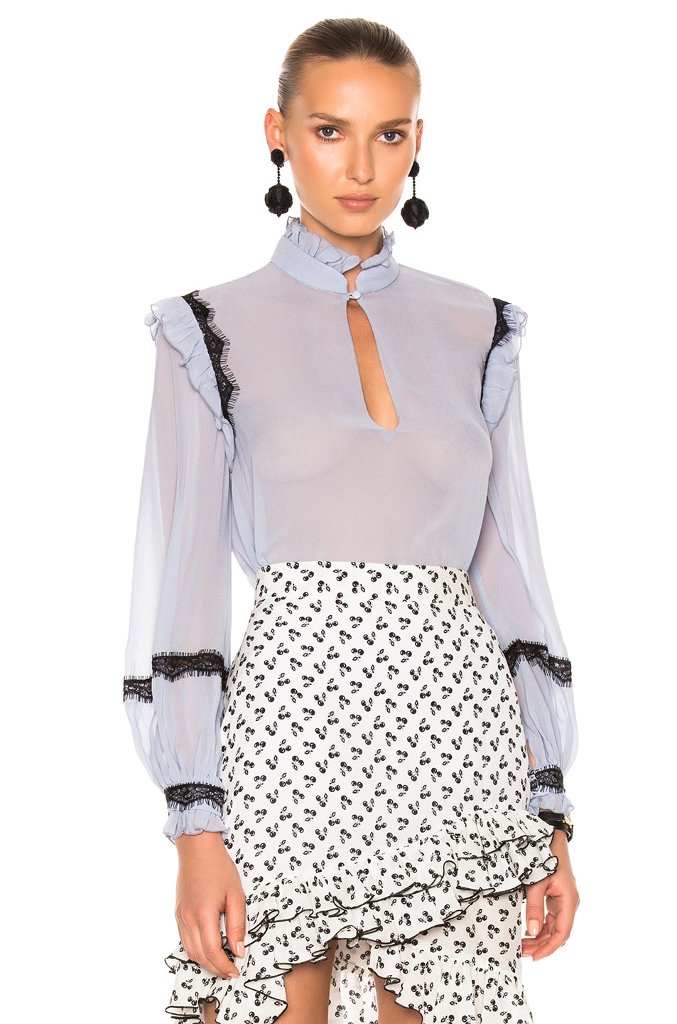 Image 1 of NICHOLAS Georgette Ruffle Trim Top in French Lavender
