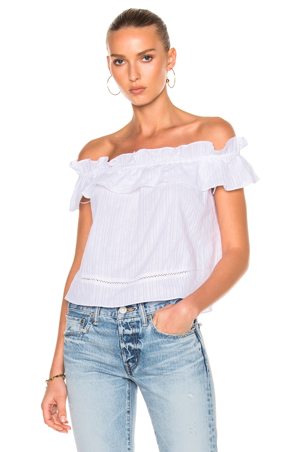 Image 1 of NICHOLAS Cotton Voile Sofia Ruffle Top in White