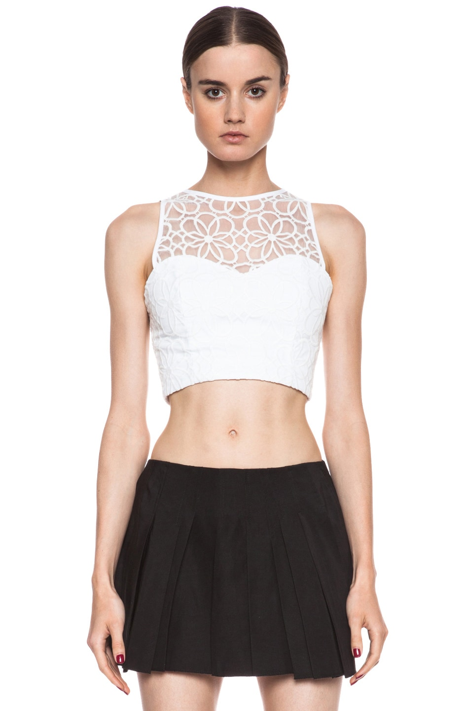 Image 1 of NICHOLAS Organza Lace Crop Bustier in White