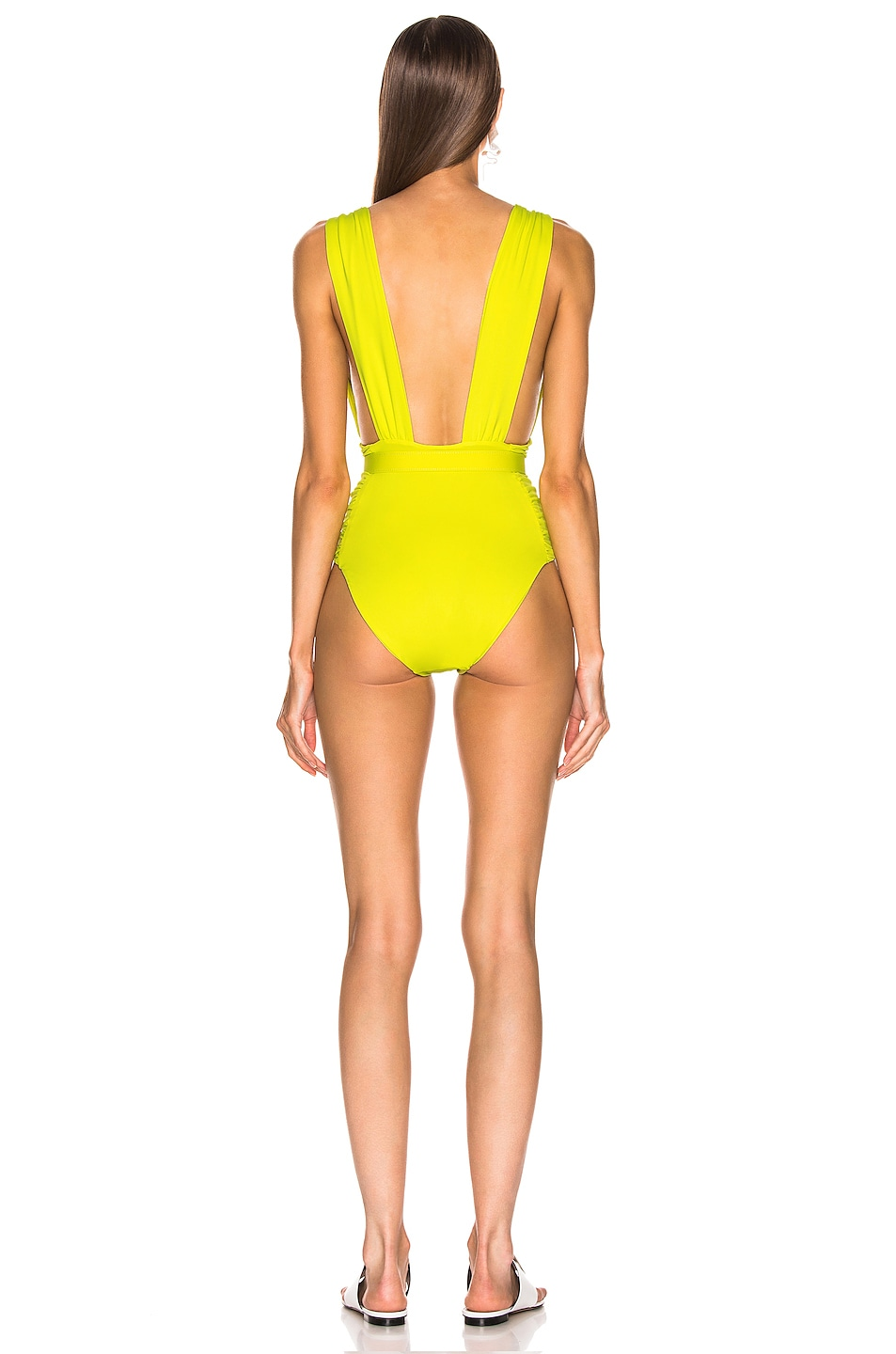 Image 3 of NICHOLAS Plunge Ruched Swimsuit in Fluorescent Lime