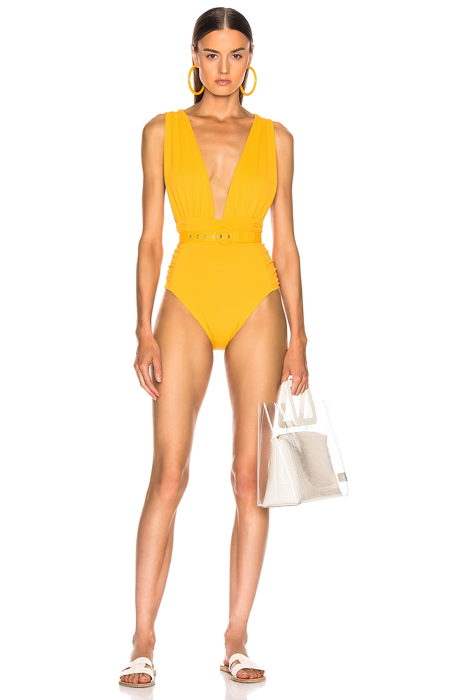 Image 1 of NICHOLAS Plunge Ruched Swimsuit in Mango