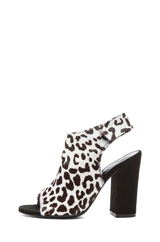Image 1 of NICHOLAS Kalla Leopard-Printed Cow Hair Heels in Black & White