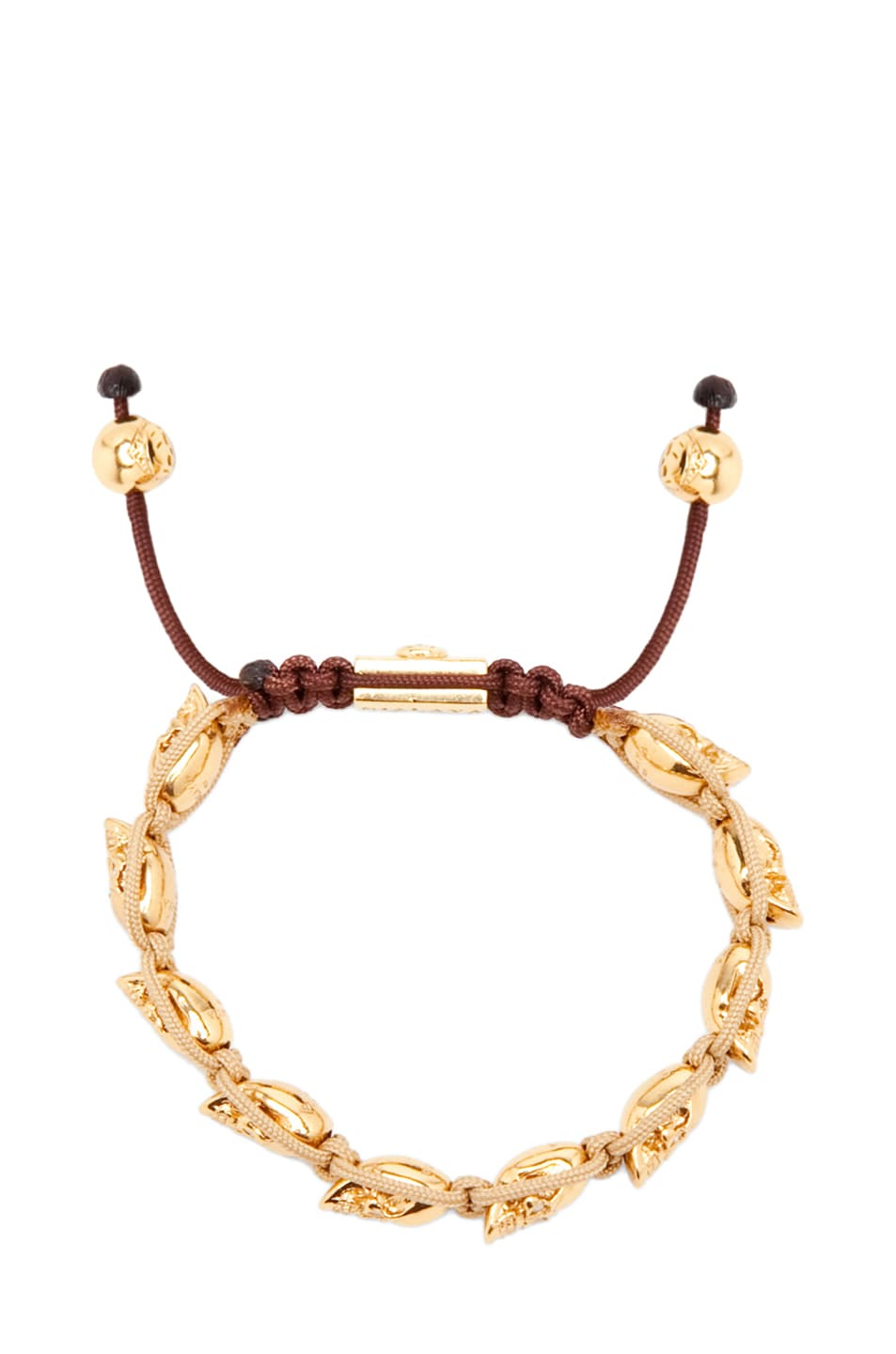 Image 1 of Nialaya Skull Bead String Bracelet in Gold