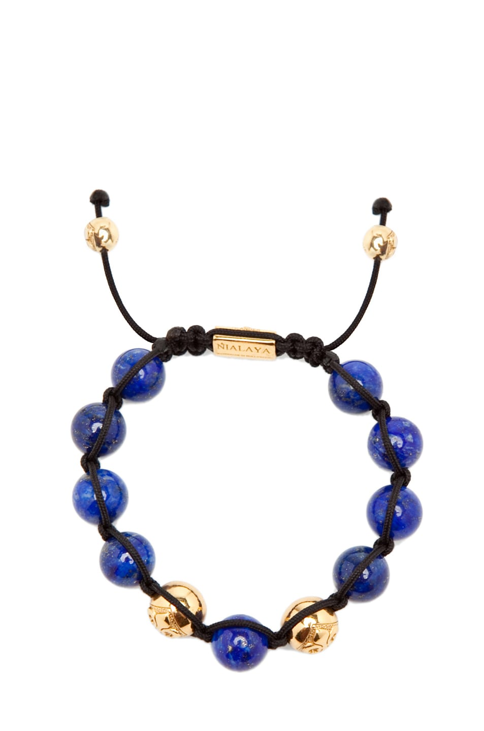 Image 1 of Nialaya Gold String Bracelet in Blue/Gold