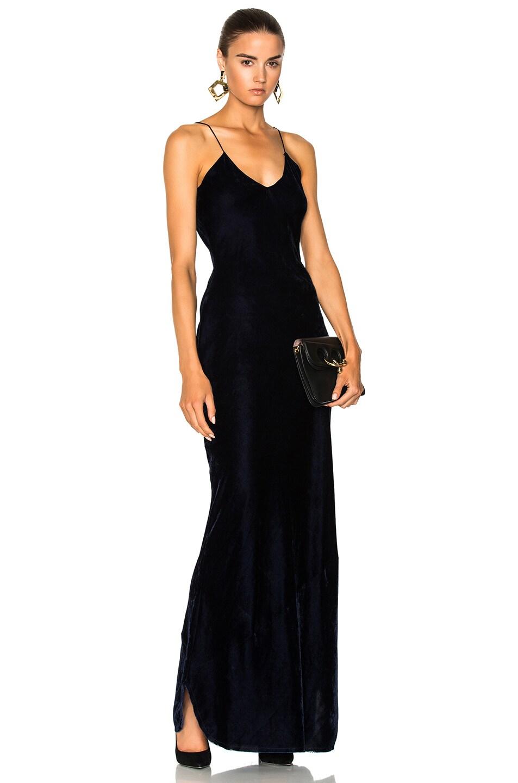NILI LOTAN Velvet Sasha Gown in Blue