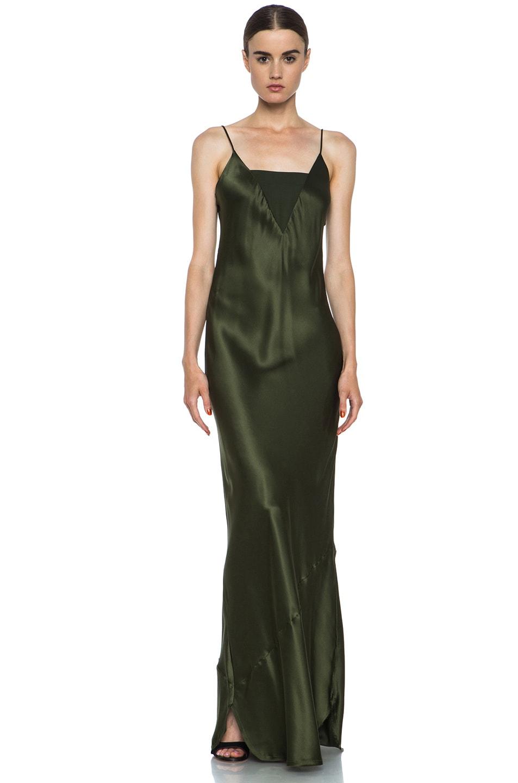 Image 1 of Nili Lotan Sheer Insert Silk Cami Dress in Fern Green