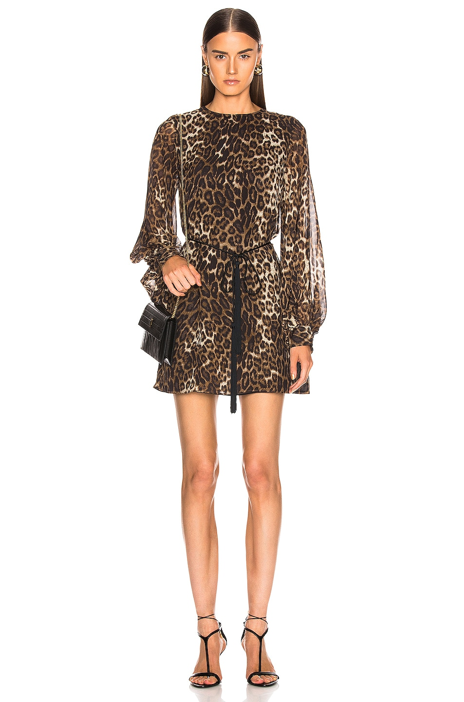 Image 1 of NILI LOTAN Rebeca Dress in Ginger Leopard Print