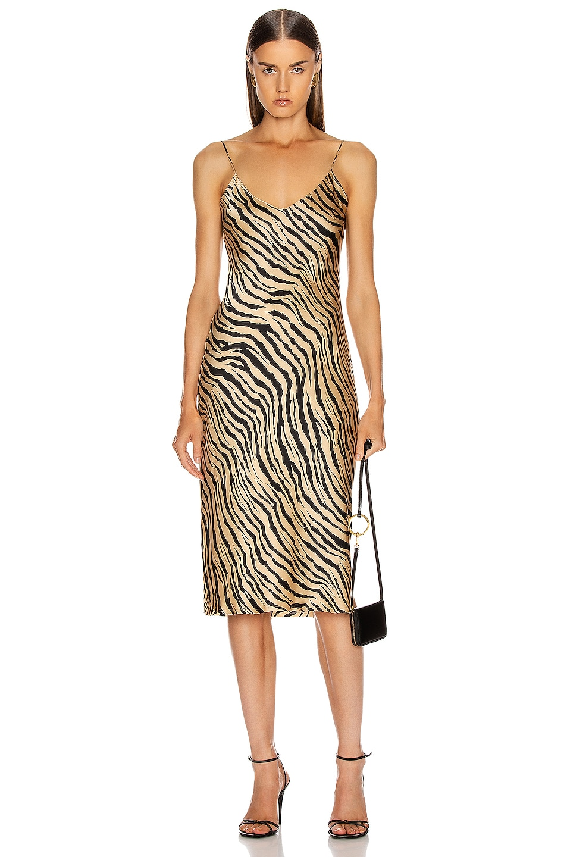 Image 1 of NILI LOTAN Short Cami Dress in Gold Tiger Print