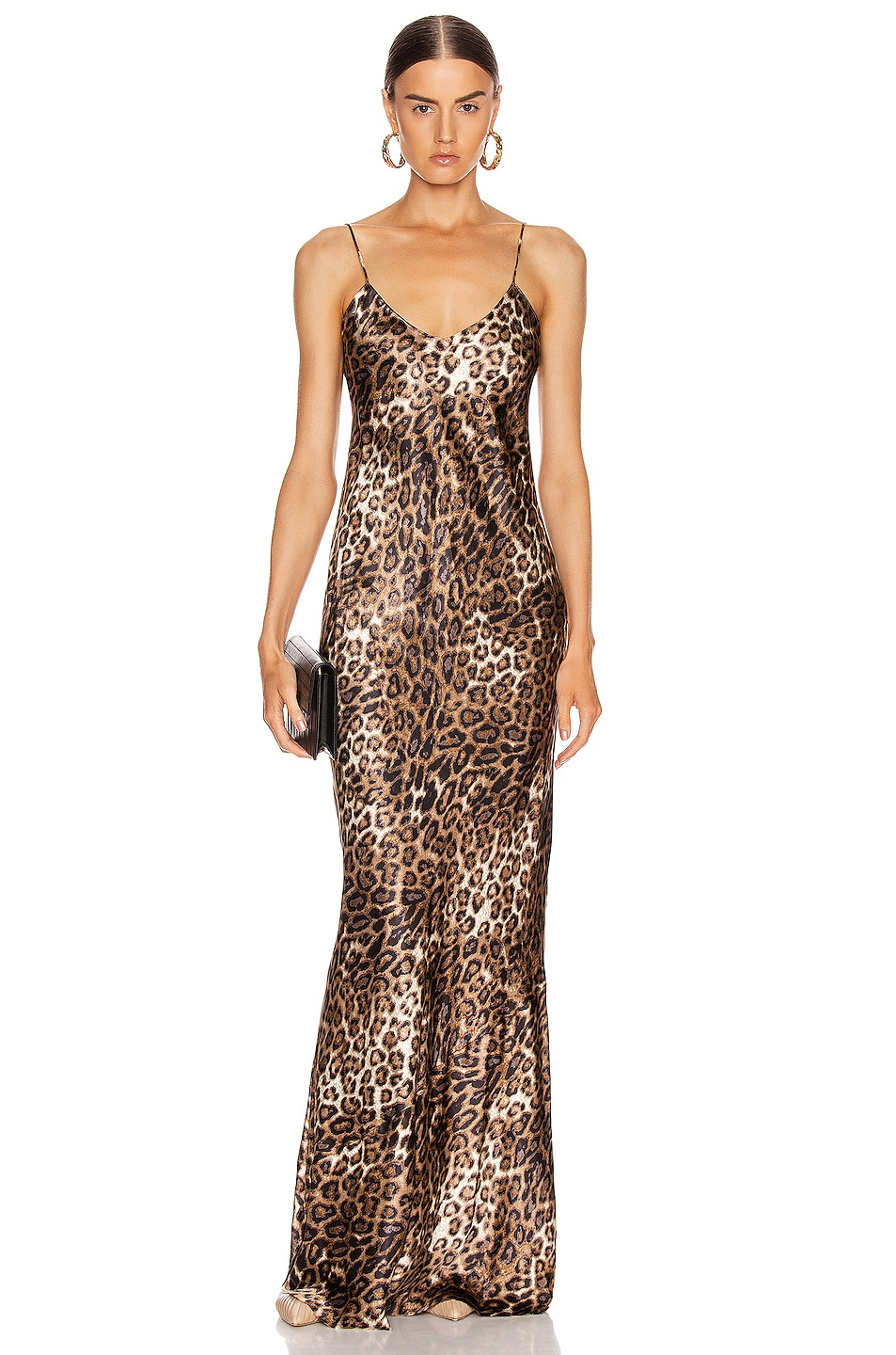 Image 1 of NILI LOTAN Cami Gown in Brown Leopard Print